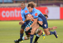 Burger Odendaal in action for Bulls.